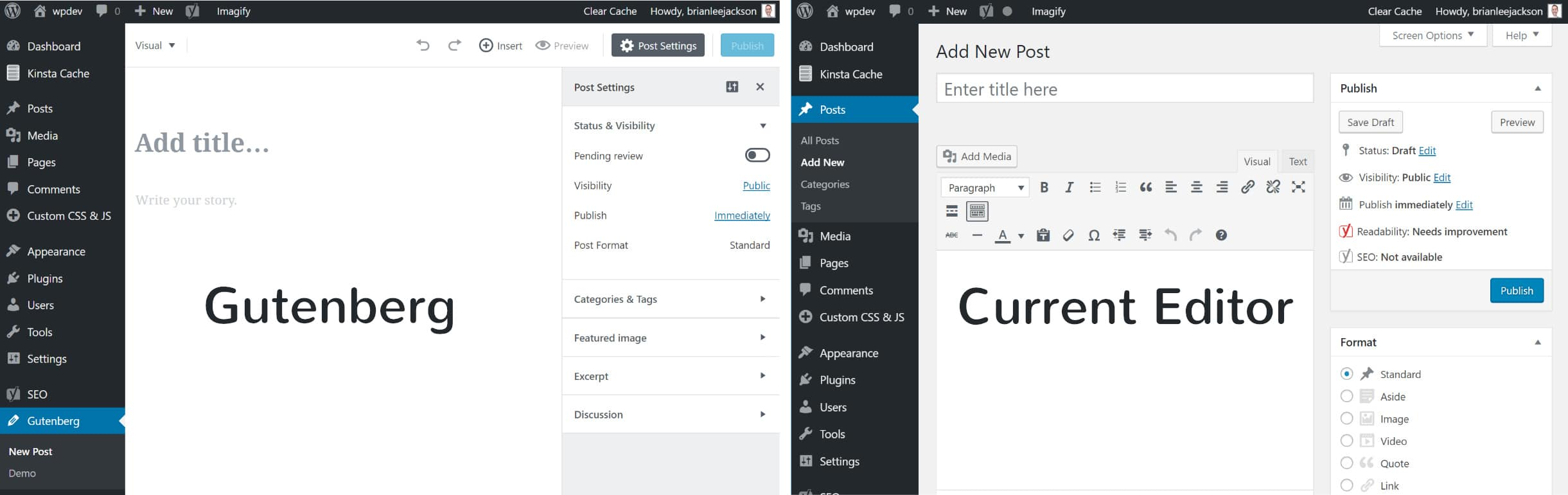 Comparison between Gutenberg and Classic Editor