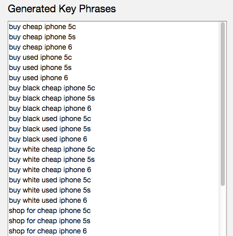 Keyword In Generated Key Phrases