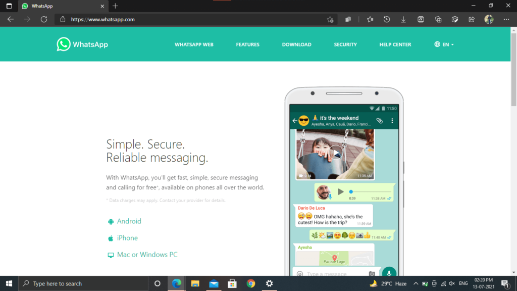 Whatsapp application for your PC